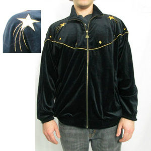 """80s Velour Gold Star Embroidered Euro Joy 46"""" Ches"""